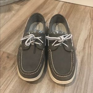 SPERRY Top-sided grey leather boat shoes